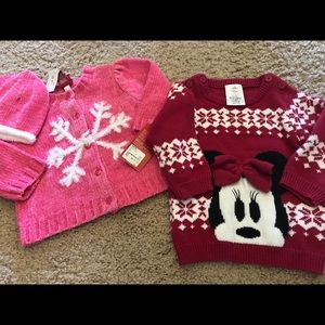 2, 9-12 month baby girl sweaters. One NWT.